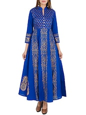 blue cotton printed flared kurta -  online shopping for kurtas