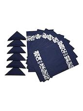 Dekor World Abstract Blue Cotton Printed Place Mat W/Napkin (Pack Of 12) - By