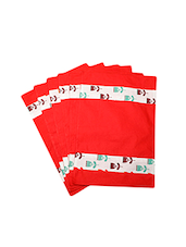 Dekor World Floral Red Cotton Printed Place Mat (Pack Of 6) - By