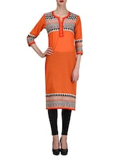 Red Cotton Printed Quarter Sleeved Kurta - By