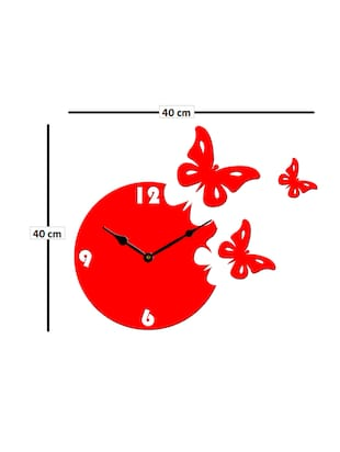 Sehaz Artworks Moon Butterfly Red_Black Wall Clocks - 12820798 - Standard Image - 3