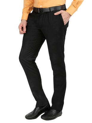 black  set of 2 polyester flat front trousers formal trouser - 12823770 - Standard Image - 3