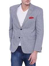 blue wool casual blazer -  online shopping for Casual Blazer