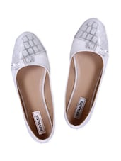 White And Silver Faux Leather Ballerinas With Bow - By