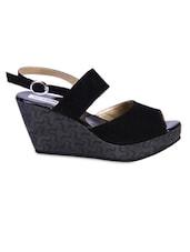 Black Velvet Peep-Toe Wedge Sandals - By
