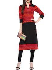 Black & Red Cotton Straight Kurta - By