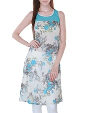 White And Blue Georgette Floral Print Kurti - By
