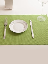 Dhrohar Hand Woven Cotton Table Mat - Pack Of 6 Mats - Lime Green - By
