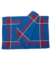 Dhrohar Hand Woven Cotton Table Mat - Pack Of 2 Mats - Earthy Blue - By