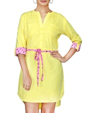 Yellow Crepe Dress With Bird Printed Belt - By