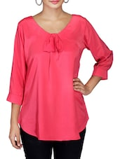 Dark Pink Bow Tie French Crepe Top - By