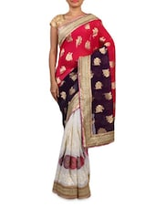 Red Viscose And Georgette Zari Embroidered Saree - By
