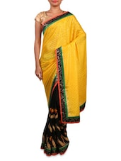 Black Georgette Embroidered Saree - By