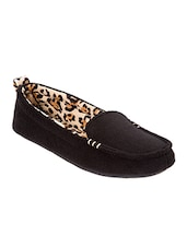 Black Fabric Slip On Loafers - By
