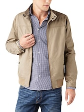 beige polyester casual jacket -  online shopping for Casual Jacket