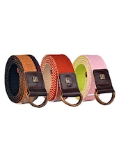 Pack Of 3 Multi Colored Canvas Belt - By - 12890441