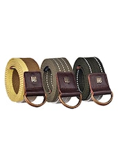 Pack Of 3 Multi Colored Canvas Belt - By - 12890474