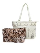 White Cut-work Detailed Handbag With Sling Bag - By