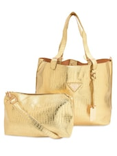 Textured Gold Faux Leather Tote With Sling  Bag - By