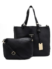 Black Faux Leather Tote With Sling Bag - By