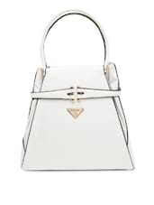 Solid White Faux Leather Handbag - By