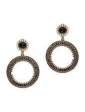 Antique Gold Hoop Dangler Earrings - By