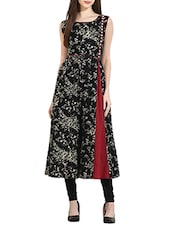 Black cotton printed flared kurta -  online shopping for kurtas