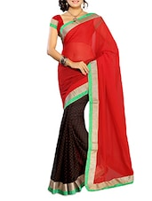 Red With Black Chiffon Saree With Blouse Piece - By