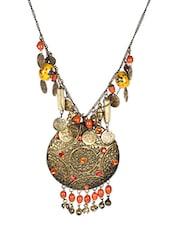 Orange Metal Tribal Necklace - By
