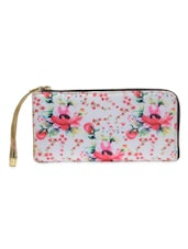 White Floral Printed Poly Satin Wallet - By