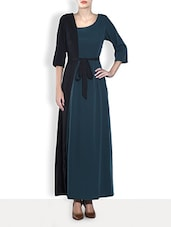 Teal Green And Black Color Blocked Crepe Dress - By