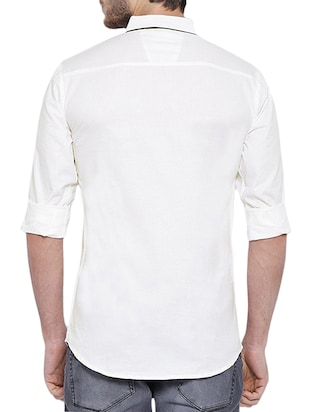 white cotton casual shirt - 12929075 - Standard Image - 3