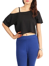 black crepe crop top -  online shopping for Tops