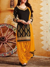 black patiyala suits semi-stitched suit -  online shopping for Semi-Stitched Suits