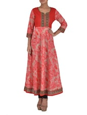 Beige And Pink Printed Cotton Kurta - By