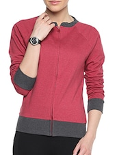 Red Cotton Solid Long Sleeves Zipper Jacket - By
