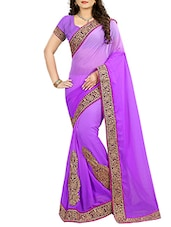 purple chiffon patch work embroidered saree -  online shopping for Sarees