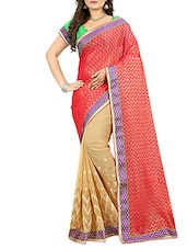 red georgette printed half and half saree with blouse -  online shopping for Sarees