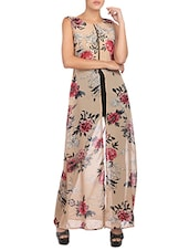 beige floral printed georgette regular tunic -  online shopping for Tunics