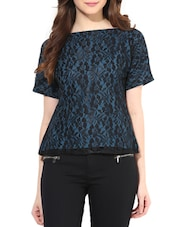 Midnight Blue and Black Poly-Lace Top -  online shopping for Tops