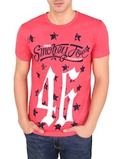 pink cotton printed t-shirt -  online shopping for T-Shirts