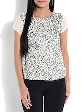 Off-white Embellished Short-sleeved Top - By