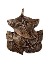 Brown Brass Ganesha Design On Leaves Wall Hanging - By
