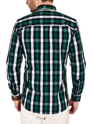green cotton checked casual shirt - 12990935 - Standard Image - 3