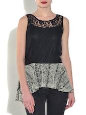 Black Poly Georgette Printed Sleeveless Peplum Top - By