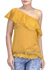 Yellow Polyester Solids One Shoulder Dress - By