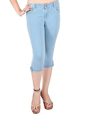 light blue denim capri -  online shopping for Capris