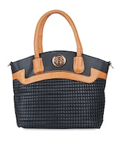 Black And Tan Leatherette Textured Handbag - By