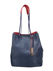 blue leatherette tote -  online shopping for Totes