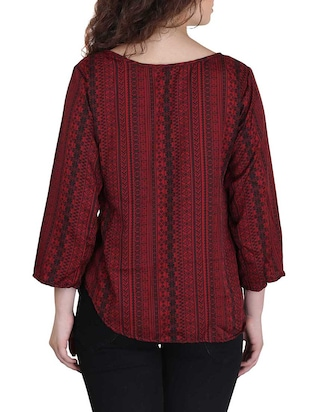 red crepe regular top - 13013799 - Standard Image - 3